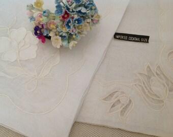 Vintage Ivory Colored Sheer Handkerchiefs ~ Set Of Two Netted Floral Hankies ~ Wedding Hankies ~ Vintage Keepsakes ~ Gift for Her