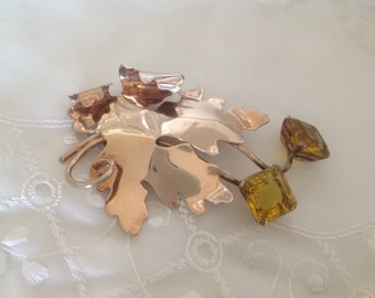 Antique Sterling Silver Brooch ~ Rose Colored Leaf ~ Gold Stones Large ~ Fall Accessories ~ Gift for Mom, Grandma, Aunt, Sister ~ Unique