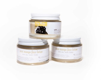 Organic Face Lotion, Acai Mango Light Face Moisturizer w/ Murumuru Butter
