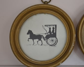 Vintage Silhouettes of Horse and Buggy