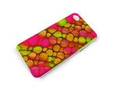Iphone Case Hand Painted Fuchsia and Lime Green with a Glossy Enamel Finish Customizable Personalized