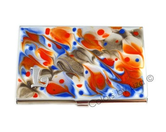 Business Card Case in Hand Painted Enamel Monogram Orange Blue and Taupe Metal Wallet Personalized and Custom Color Options