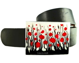 Large Belt Buckle Hand Painted Enamel Red Black and White Wild Flowers Blossom Inspired Metal Buckle Custom Colors Available