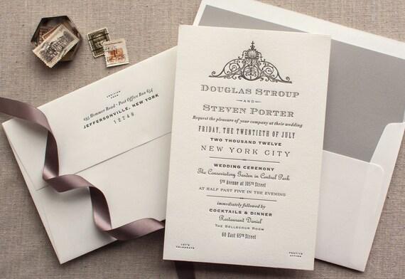 Items similar to French Wedding Invitation fleur de lis ...