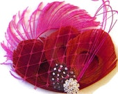 TRUE VALENTINE Pink and Red Peacock Hair Clip Peacock Wedding Hair Fascinator Clip