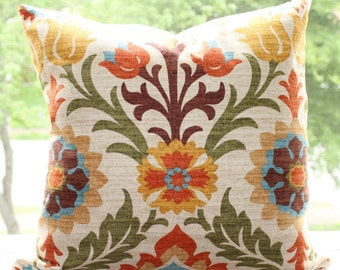 "Waverly Santa Maria Adobe Fabric 18"" x 18"" Pillow Cover"