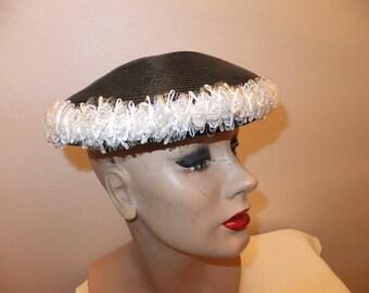 Vintage Womens Hat Black Straw Like with White Ruffle Beret Style Carol Designer Formal