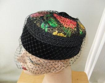 Vintage Hat Pillbox Black Velvet Multi Colored with Netting Formal