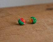 RAINFOREST : fabric button earrings