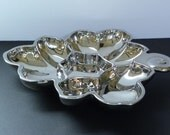 Vintage Candy Dish -- Mercury Glass Silver coated glass divided dish -- Leaf Pattern