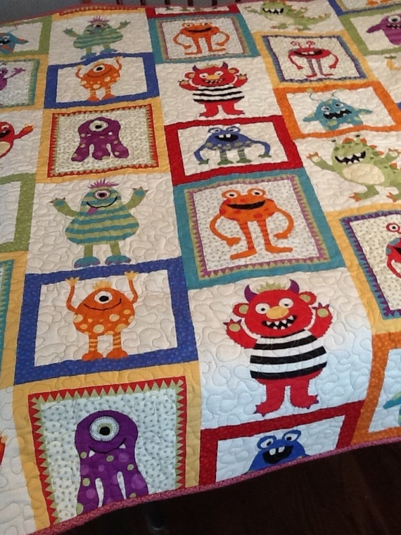 Monster quilt boys blanket scary monsters don 39 t be for Baby monster fabric
