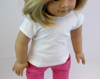 18 inch Doll Clothes Fits American Girl Doll  White T Shirt & Bright Pink Jeans  Toys