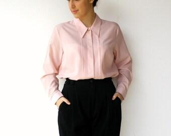 Vintage 1980s Pink Tuxedo Blouse / Size L XL