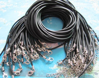 wholesale high quality 48pcs 20-22 inch adjustable 2.5mm black rubber necklace cords/lobster clasps