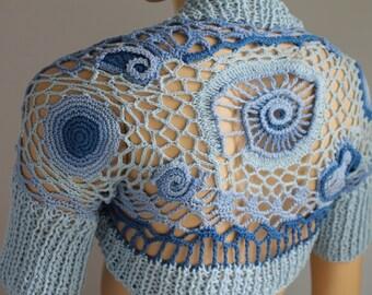 15% Off FREEFORM Crochet Knit  Shrug Bolero in shades of blue - ECO Cotton - one of a kind - Wedding shrug bolero -  Size XS-S