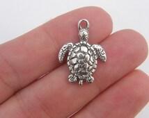 BULK 50 Turtle charms antique silver tone FF130
