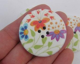 20 Flower buttons 4 holes 40mm wood