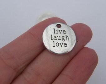 BULK 30 Live Laugh Love pendants antique silver tone M315