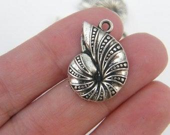 5 Shell pendants antique silver tone FF156