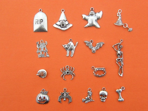The Ultimate Halloween Charms Collection - 16 different antique silver tone charms