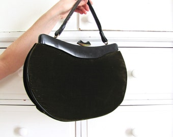 Velvet Handbag / 1950s Purse / Dark Green Purse / 50s Purse
