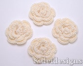 "Cream 1-1/4"" Crochet Rose Flower Embellishments Handmade Applique Scrapbooking Fashion Accessories - 4 pcs. (3280-01)"