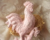 Cast  Iron Rooster/ Chicken  Hook Hanger / Towel Holder in Country Pink / French Decor/Pink Kitchen