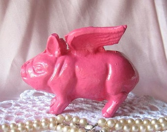 SALE-Cast Iron Small Piggy Bank In Hot Pink/Flying Pig