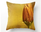 Decorative Throw Pillow Gerbera Daisy Bud - floral accent home decor bedding, accent cushion, toss cushions, pillow cover, cushion cover