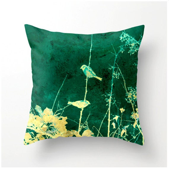 Items similar to BIRDS on a VINE decorative throw pillow - yellow teal turquoise aqua accent ...