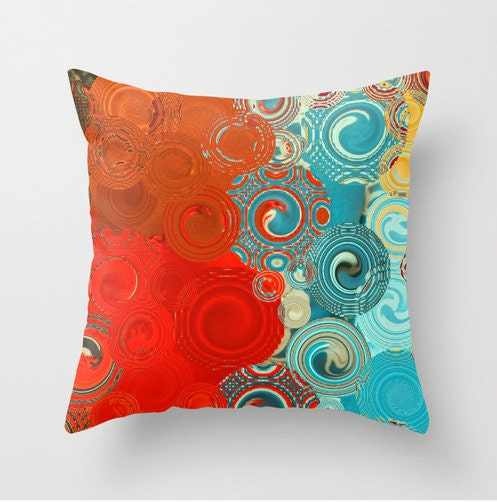 Throw pillow red blue yellow swirls colorful scatter for Turquoise and red throw pillows