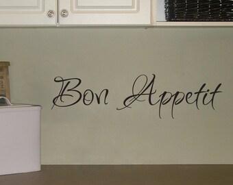 Bon Appetit Wall Decal - Kitchen Wall Art - Medium