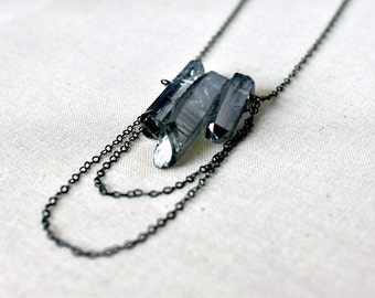 Crystal Point Necklace Silver Quartz Necklace Gemstone Spear Oxidized Sterling Silver, Mystic Steel