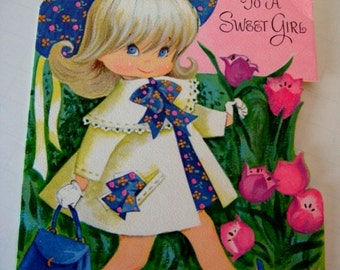 Easter Greeting Card for Girl - A Play Card by Gibson - Unused Vintage