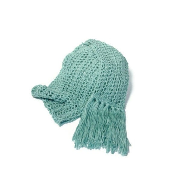 Ocean Spray Hand Knit Lace Scarf - Great for Spring