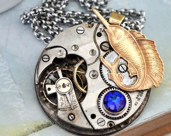 steampunk jewerly necklace - TIME To Go FISHING -  vintage watch movement necklace with swordfish and Swarovski rhinestone
