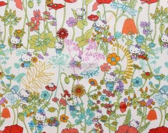 Liberty tana lawn printed in Japan - Wild Garden - Orange mix
