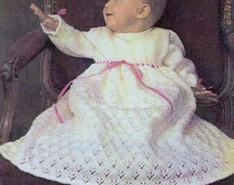 SALE***** Baby Knitting PATTERN -  Christening/Baptism/Blessing Dress/Gown 16 and 18 inch