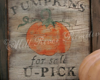 Primitive U-Pick Pumpkins for sale wood sign