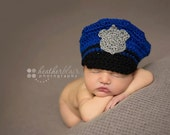 Baby boy hat, baby girl hat, police hat, photo prop, crochet police hat, baby shower gift, coming home hat, crochet newborn hat, police