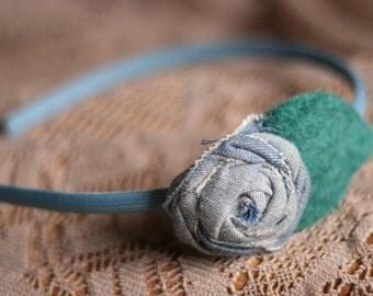 Sweet Rosette Headband in Denim