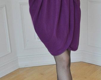 Wrap Skirt, Purple Chiffon Romantic Party Pleated Tulip Knee Skirt S M L