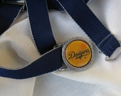 DODGERS BELT BUCKLE / Vintage  Baseball Buckle  with  Elastic Dodger Blue Fabric Belt /