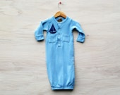0-3 month gown, sleep sack, Sailboat, blue, hand printed