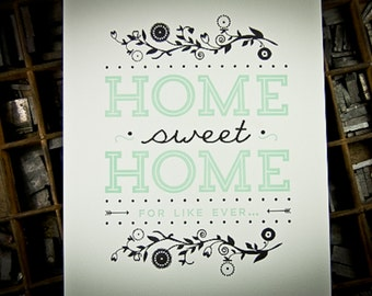 Home Sweet Home Letterpress Print by The Permanent Collection