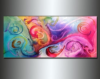 Abstract painting ,Contemporary Modern Fine Art, Colorful Canvas Art, by Henry Parsinia 48x24