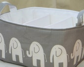 Diaper Caddy, Fabric organizer bin with adjustable dividers 12 x 10 x 7