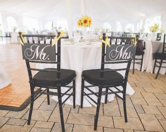 Mr. and Mrs. Chair Signs and/or Thank and You. 6 X 12 inches.  Wood Wedding Chair Signs, Photo Props, Reception Chair Signs.