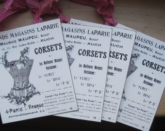 NEW item french market corset tags set of 4