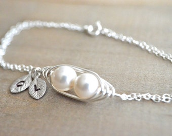 Personalized 2 Peas in a Pod Bracelet wrapped in Sterling SIlver Wire - Choose your Initial and Pearl Color - Mom, Mother, Mother's Day